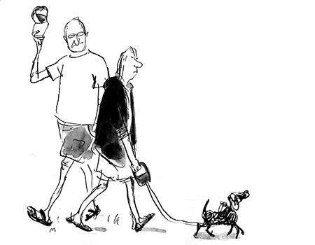 Mette Dreyers tegning til 'Høfligheden - hvad blev der af den?'